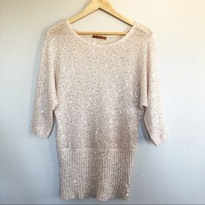 Belldini Cream Beige Shimmery Sequined Top Sz M